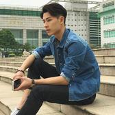 青少年春季牛仔襯衫男學生長袖衣服修身韓版青年外套帥氣休閒襯衣   初見居家