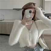 針織開衫 v領毛絨寬鬆外穿短款針織衫上衣女2021秋季新款白色毛衣開衫外套 嬡孕哺