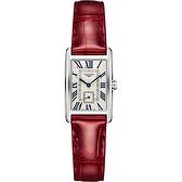 LONGINES 浪琴 DolceVita 獨立小秒針石英女錶-銀x紅/21mm L52554715