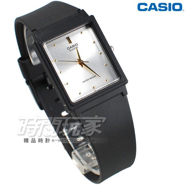 CASIO卡西歐 MQ-38-7A 撞色簡約方錶 橡膠錶帶 黑x白色 MQ-38-7ADF 防水手錶 指針錶 兒童 女錶