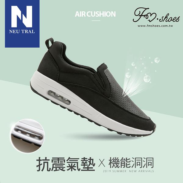 休閒鞋.洞洞透氣懶人氣墊鞋(黑)-大尺碼-FM時尚美鞋-NeuTral.Summer