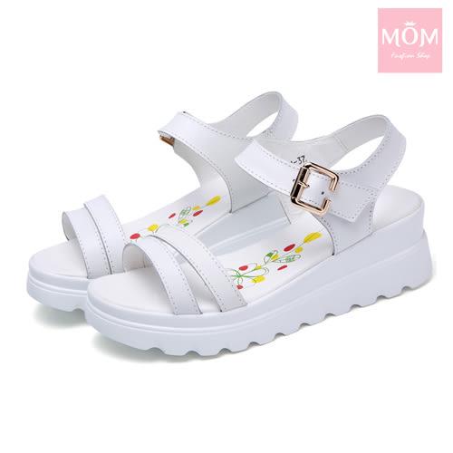 真皮簡約雙線條時尚厚底休閒涼鞋 白 *MOM*