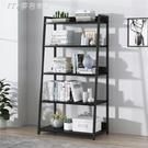 客廳置物架書架簡約現代落地鋼木置物架多層鐵藝組合梯形儲物架客廳展示架子YYS快速出貨