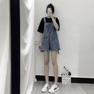 夏季新款韓版牛仔短褲女學生高腰顯瘦寬鬆背帶褲破洞減齡闊腿 快速出貨