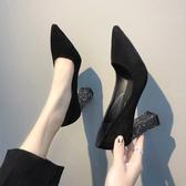秋季新款韓版百搭尖頭絨面高跟鞋女亮片粗跟顯瘦性感氣質單鞋  夏季上新