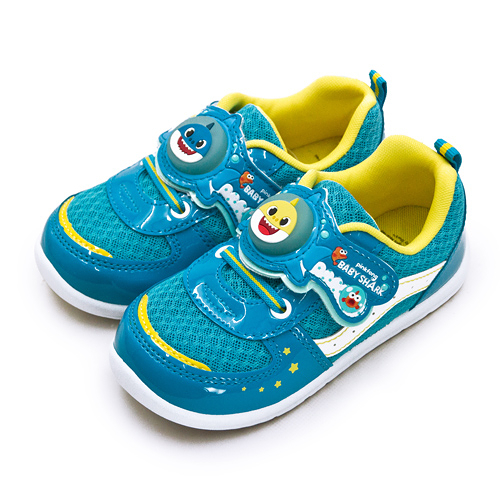 LIKA夢 Pinkfong 碰碰狐 15cm-19cm BABY SHARK 兒童電燈運動鞋 台灣製造 藍黃 96636 中童