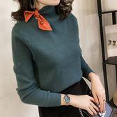 毛衣 蝴蝶結針織衫女正韓修身內搭套頭慵懶風毛衣半高領打底衫女裝 酷我衣櫥