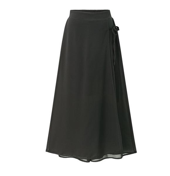 XL-4XL/中大尺碼鬆緊腰半身裙褲裙雪紡褲胖MM大碼女裝寬松雪紡裙褲七分褲F2029-8136皇潮天下