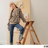 《AB14095-》保暖針織配色豹紋長袖毛衣上衣 OB嚴選