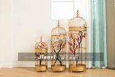 鐵藝裝飾鳥籠 櫥窗鳥籠擺件 金色復古鳥籠 軟裝擺件 婚慶裝飾交換禮物  YYS
