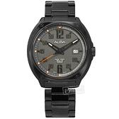ALBA / VJ42-X287SD.AS9J61X1 / 數字時標 藍寶石水晶玻璃 日期 防水100米 不鏽鋼手錶 灰x鍍黑 43mm
