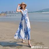 洋裝女夏新款雪紡長款波西米亞過膝印花長裙海邊度假沙灘裙 檸檬衣舍
