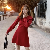 小紅裙小紅裙女2020秋冬氣質收腰針織連身裙紅色小個子打底裙潮 春季新品