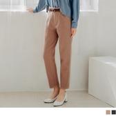 《BA5367-》溫暖毛呢修身剪裁打褶直筒褲(附皮帶) OB嚴選