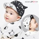 寶寶滿版貓咪立體耳朵翻沿棒球帽 遮陽帽 鴨舌帽