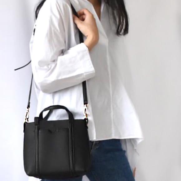 【O'FiFi】韓 質感定形方包 手提包 肩背包  側背包(黑)