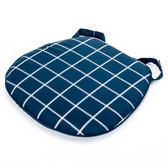 格紋馬蹄型餐椅墊 藍