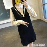 2019秋季新款甜美學院風長袖氣質魚尾裙蝴蝶結假兩件針織洋裝女 免運