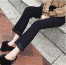 九分褲 正韓微喇褲九分春顯瘦學生黑色褲子高腰薄款打底褲喇叭褲新款【雙11快速出貨八折】