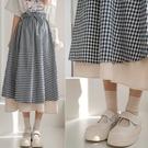 現貨-MIUSTAR 雙層配色下襬附綁帶格紋傘裙(共3色)【NJ0166】