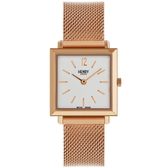 【台南 時代鐘錶 Henry London】英倫復古風潮 典雅方型腕錶 HL26-QM-0264 玫瑰金 26mm