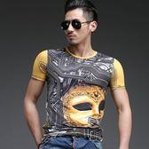 短袖T恤男 韓版潮流 休閒上衣 夏季夜店面具印花修身時尚潮流男短袖印花T恤wx3376