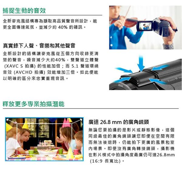 SONY FDR-AXP55-4K 投影系列高畫質數位攝影機*(中文平輸)~送128G副電座充包大清硬保