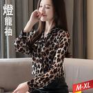 豹紋繫帶領上衣 M~XL【872746W】【現+預】☆流行前線☆