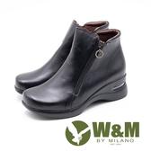 W&M 真皮圓圈吊飾 拉鍊內增高短靴 女靴-黑(另有咖)