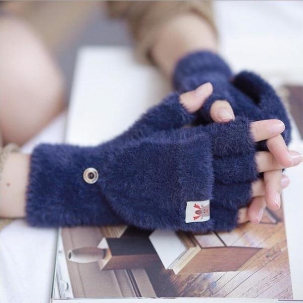 兒童手套 手套女冬季韓版可愛學生寫字露指半截保暖加絨翻蓋兒童戶外騎行【快速出貨八折下殺】