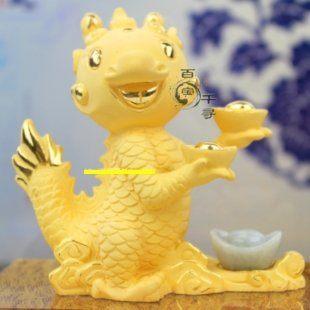 龍寶寶 絨沙金 黃金工藝品龍擺件