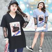 ★韓美姬★中大尺碼~假兩件拼接蕾絲T恤上衣(XL~4XL)