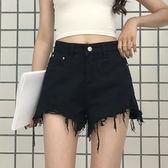 夏季女裝新款韓版時尚毛邊牛仔短褲高腰顯瘦百搭闊腿褲學生熱褲潮 挪威森林
