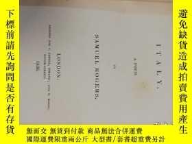 二手書博民逛書店【罕見】1836年出版 ROGERS S ITALY - A Poem by Samuel RogersY17