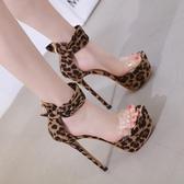 恨天高豹紋細跟高跟鞋模特夜店演出鞋18cm/17公分超高跟魚嘴涼鞋
