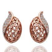 耳環 純銀鍍18K金鑲鑽-精緻優雅生日情人節禮物女飾品73cg172【時尚巴黎】