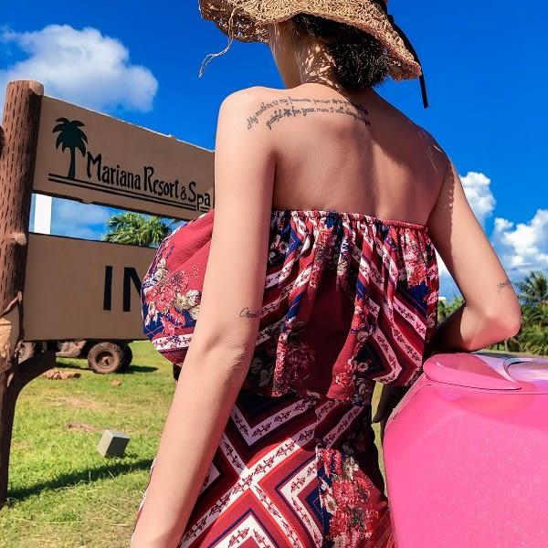 梨卡★現貨 - 氣質紅波西米亞風平口洋裝連身裙兩件套長裙長洋裝沙灘裙C6397