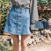 率性排釦腰鬆緊牛仔短裙-K-Rainbow【A99650-21】