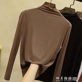 莫代爾半高領打底衫女長袖秋冬2019新款洋氣內搭黑色加絨加厚上衣