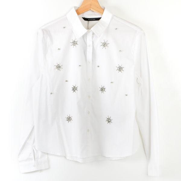【MASTINA】寶石造型襯衫-白  冬末好康