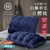 Hilton 希爾頓 五星級60支紗100%精梳棉白鵝羽毛枕1入