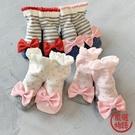 【日本製】日本製 mimi 嬰兒 大蝴蝶結 襪子 橫條紋 x 粉紅色 SD-1154 -