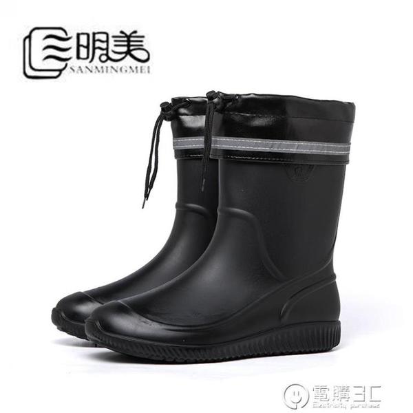 雨鞋男春夏防水中筒橡膠套鞋膠鞋膠靴加棉保暖防滑釣魚鞋短筒水鞋  聖誕節免運