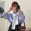 【快出】襯衫秋季復古條紋襯衣秋裝新款韓版寬鬆長袖上衣百搭外穿襯衫女