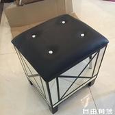 朵圓鏡面換鞋凳小鞋櫃歐式穿鞋凳多功能試鞋凳門口收納櫃美式皮藝QM  自由角落