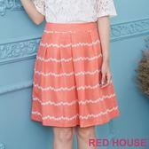 Red House 蕾赫斯-花朵條紋裙(橘色) 零碼出清,滿599元才出貨