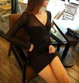 低胸性感連身裙夜店潮緊身透視夜場短裙洋裝