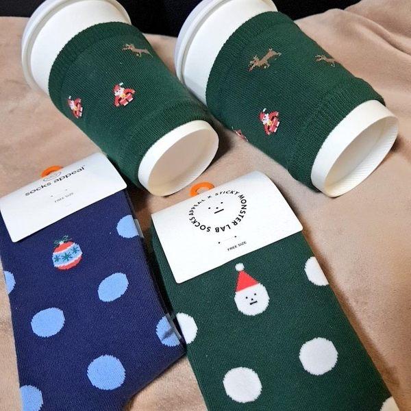 韓國 socks appeal X SML 聖誕限定 點點中桶襪 聖誕小怪物