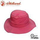 【Wildland 荒野 中性 抗UV透氣網遮陽圓盤帽《桃紅》】W1051/防曬帽/登山/休閒帽/漁夫帽/遮陽帽
