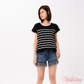 Victoria 異材質拼接落肩短袖T-女-深灰